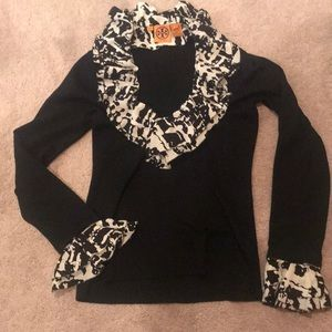 Tory Burch Black V-neck Sweater removable ruffles